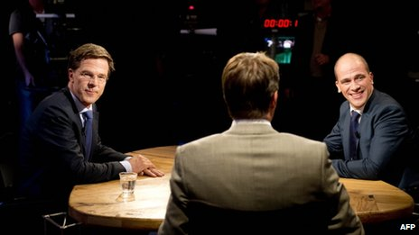 Political rivals Mark Rutte (left) and Diederik Samsom debate on TV, 10 September
