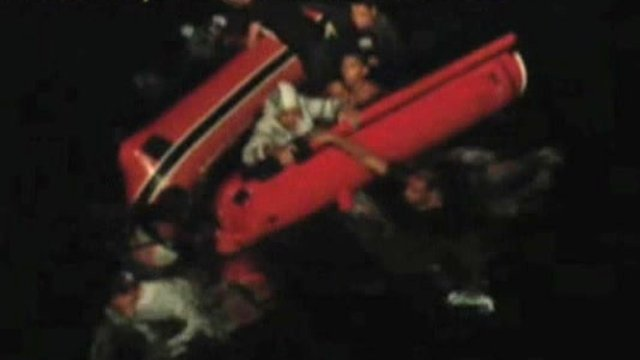 Stranded Libyan migrants being rescued by Italian authorities