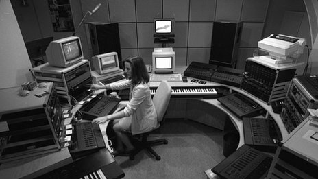 Elizabeth Parker, composer, in the BBC Radiophonic Workshop, 1989