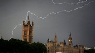 Lightning over Westminster