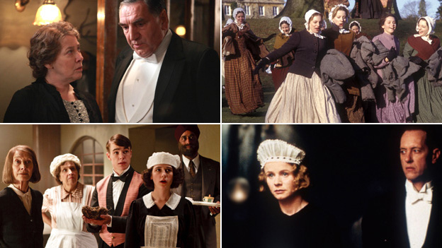Scenes from Downton Abbey (Carnival films/ITV), Servants (BBC), Upstairs, Downstairs (BBC), Gosford Park (Getty Images)