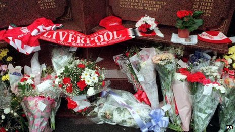 Floral tributes at the Hillsborough Memorial at Anfield in Liverpool on the 10th anniversary of the Hillsborough tragedy