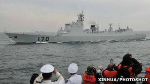 China navy&#039;s Lanzhou destroyer at a parade in Qingdao, east China&#039;s Shandong province (file photo)