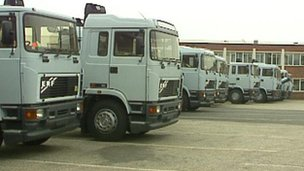Lorries in yard