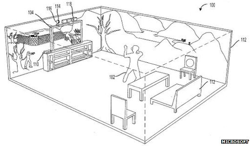 microsoft xbox 3d-projected games outlined in patent