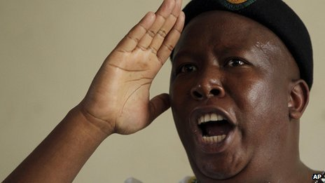 Julius Malema taking the salute while addressing soldiers in the Johannesburg area (12 September) 