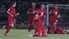 Luxembourg players celebrate after Daniel Da Mota&#039;s late deflected shot earned them a 1-1 draw away to Northern Ireland in a Group F World Cup qualifying match in Belfast