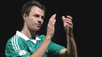 Manchester United defender Jonny Evans applauds the Windsor Park fans after Northern Ireland's disappointing draw at home to Luxembourg