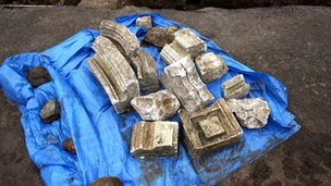 Pieces of medieval masonry recovered from the site