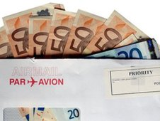 Euros in an envelope