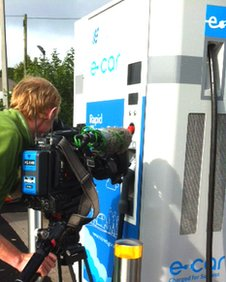 Cameraman filming rapid charger
