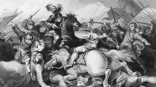 Victorian picture of the battle of Bosworth