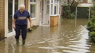 Man affected by flooding in Attenborough