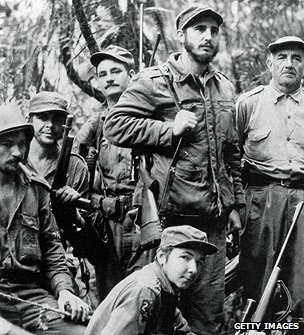 Fidel Castro and fellow combatants during uprising in 1957