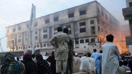 Garment factory fire in Karachi