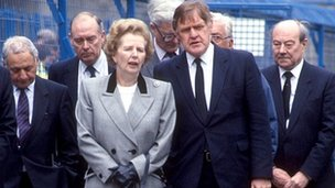 Mrs Thatcher visits the site of the Hillsborough disaster on the day after the tragedy in 1989
