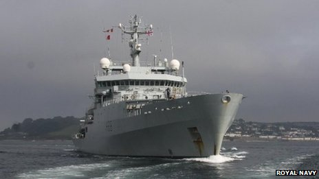 HMS Enterprise leaves Falmouth. Pic: Royal Navy