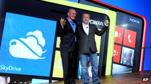Steve Ballmer and Stephen Elop at Nokia launch