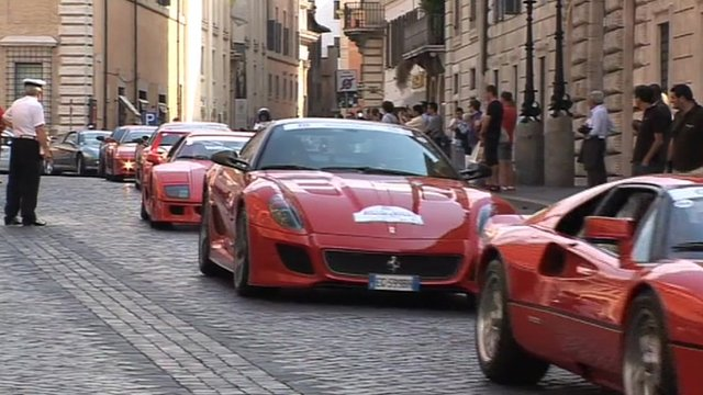 Ferrari cars on streets of Rome
