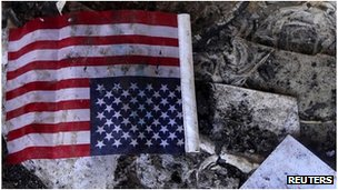 US flag among the rubble at the US consulate in Benghazi, Libya