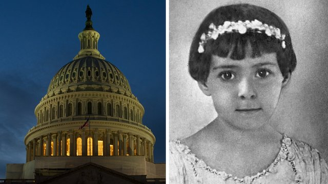 The US Capitol dome and Mary Z Gray as a young girl