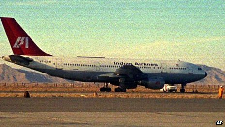 A hijacked Indian Airlines jetliner on the tarmac of Kandahar airport in Afghanistan on December 26, 1999