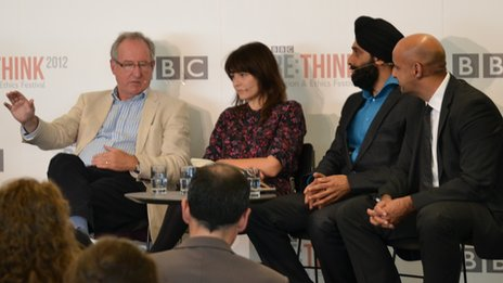 Roger Bolton (right) and BBC head of Religion & Ethics Aaqil Ahmed spoke on a cross-industry panel