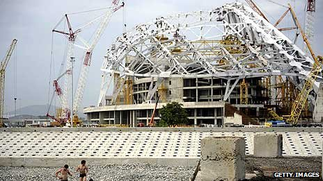 Fisht stadium in Sochi being built