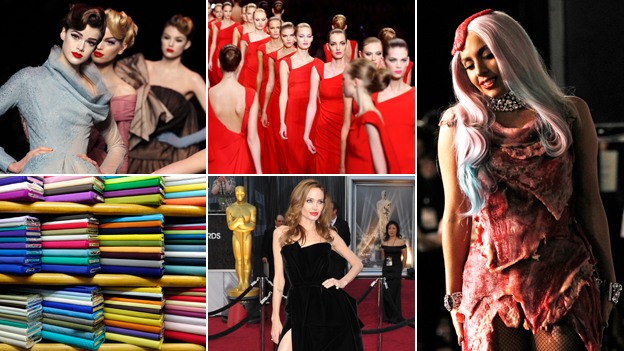 (clockwise) models at Christian Dior show; models at Valentino show; Lady Gaga; Angelina Jolie; stacks of fabric (Images: Getty/AP/Thinkstock)