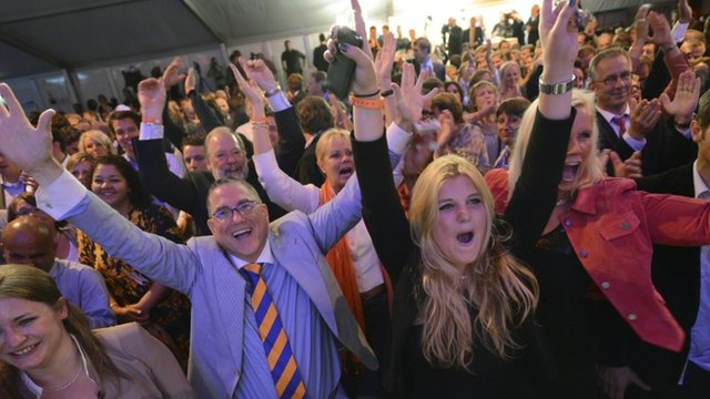 Supporters of Prime Minister Mark Rutte cheer result
