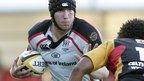 Stephen Ferris under pressure against the Newport Gwent Dragons