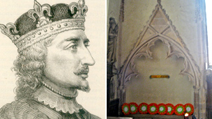 Victorian image of King Stephen and the tomb in St Mary&#039;s church