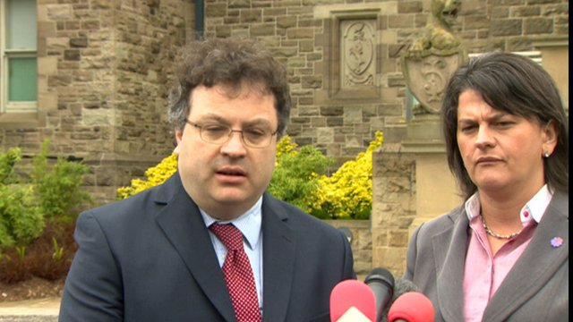 Stephen Farry and Arlene Foster