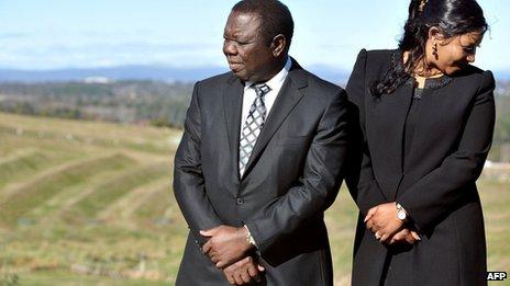 Zimbabwean Prime Minister Morgan Tsvangirai (L) and his partner Elizabeth Macheka in Canberra, Australia - 23 July 2012