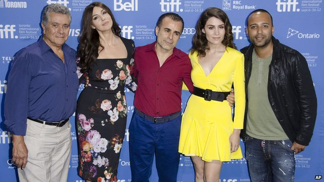 (From left to right) Behrouz Vossough, Monica Bellucci, Bahman Ghobadi, Belcim Bilgin and Arash Labaf