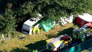 Scene of the coach crash on the A3 in Surrey