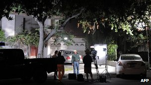 Media crews outside Nakoula Basseley Nakoula's home in Cerritos, California