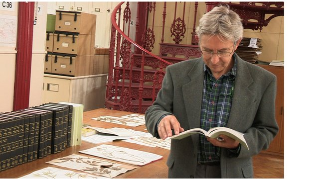 Dr Henk Beentje of the Royal Botanical Gardens at Kew with the Flora of Tropical East Africa catalogue.