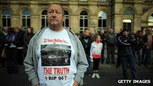 Liverpool fan at Hillsborough vigil
