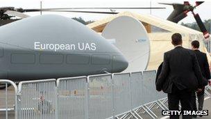 A European UAS EADS Cassidian drone at the ILA Air Show in Berlin