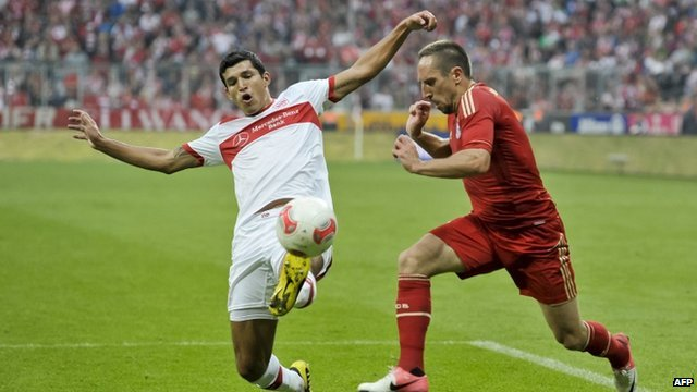 Action from Stuttgart v Bayern Munich on 2 September