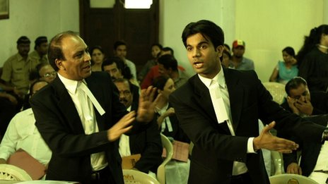 Court scene with actor Raj Kumar Yadav playing Shahid Azmi (r)