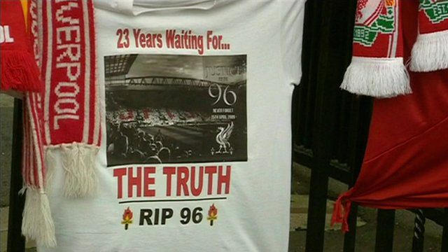 Tributes to the 96 people who died at Hillsborough