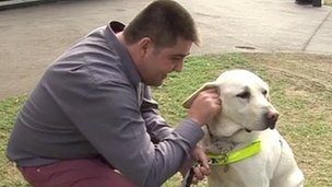 Kevin Nugent and his guide dog Orlando