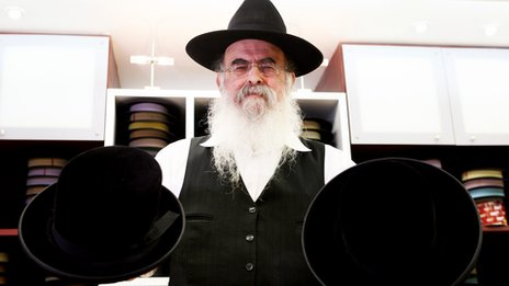 Yeruham Klausner in the Ferster hat store in Mea Shearim, Jerusalem