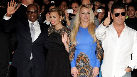 LA Reid, Demi Lovato, Britney Spears and Simon Cowell 