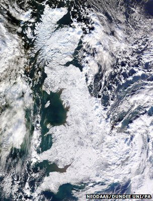 Satellite image showing Great Britain covered in snow and ice (Image: NEODAAS/University of Dundee/PA)