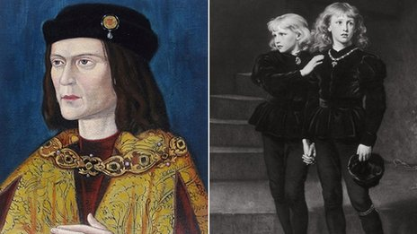 Portrait of Richard III (left) and the two missing princes (right)