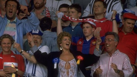 Female football fan among make supporters in the 1980s