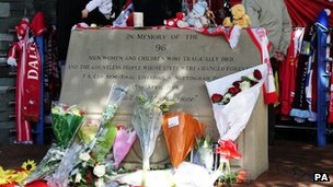 Memorial to the 96 victims outside Hillsborough